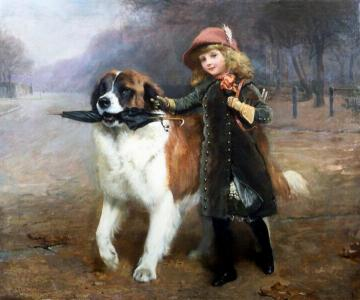 Off To School Artwork by Charles Burton Barber