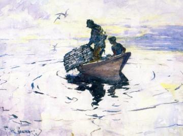 The Lobstermen Artwork by Frank W. Benson