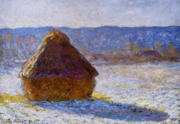Grainstack in the Morning, Snow Effect Artwork by Claude Oscar Monet