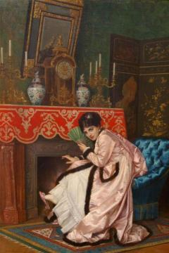 Woman Sitting In Front Of A Fireplace Artwork by Auguste Toulmouche