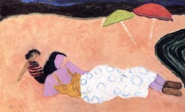 Red And Green Umbrellas Artwork by Milton Avery