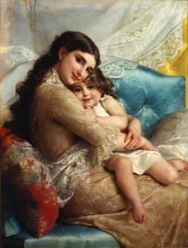 Portrait Of A Mother And Daughter Artwork by Emile Munier