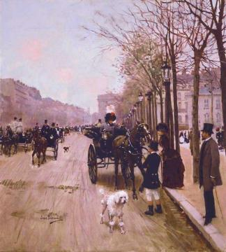 Carriages On The Champs-Élysées Artwork by Jean Georges Beraud