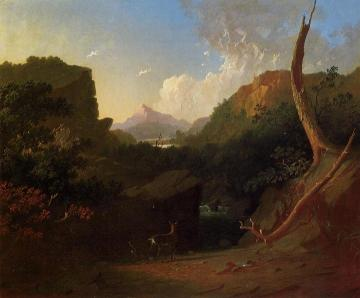 Deer in a Stormy Landscape Artwork by George Caleb Bingham