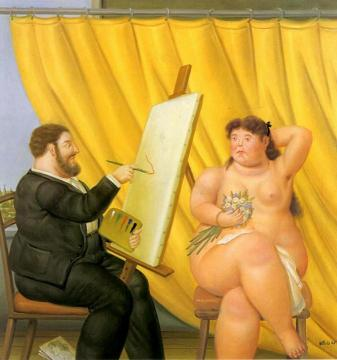 The Painter and his Model Artwork by Fernando Botero