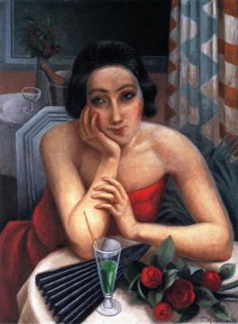 Pensive Young Woman With Red Roses Artwork by Jean Metzinger