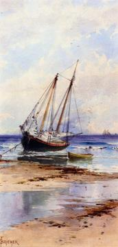 Beached Schooner Artwork by Alfred Thompson Bricher