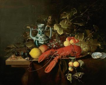 Still Life with a Lobster on a Pewter Plate, Lemons, Grapes, Apricots, Oysters, etc. Artwork by Laurens Craen