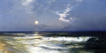 Moonlit Seascape Artwork by Thomas Moran