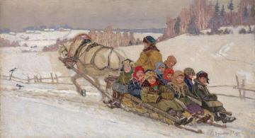 Returning from School Artwork by Nikolai Petrovich Bogdanov-belsky