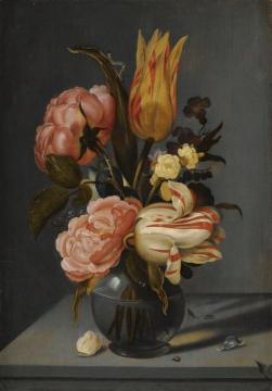 Still Life with Tulips, Roses, Marigolds and other Flowers, in a Glass Vase Artwork by Ambrosius Bosschaert