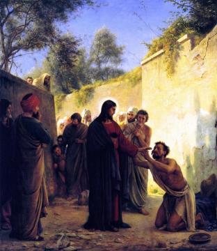 Healing of the Blind Man Artwork by Carl Heinrich Bloch