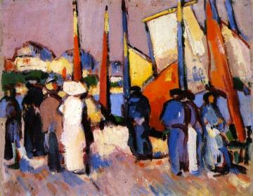 People and Sails at Royan Artwork by John Duncan Fergusson