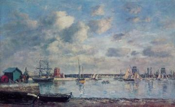 Camaret, Boats in the Harbor Artwork by Eugène-Louis Boudin