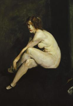 Nude Girl, Miss Leslie Hall Artwork by George Wesley Bellows