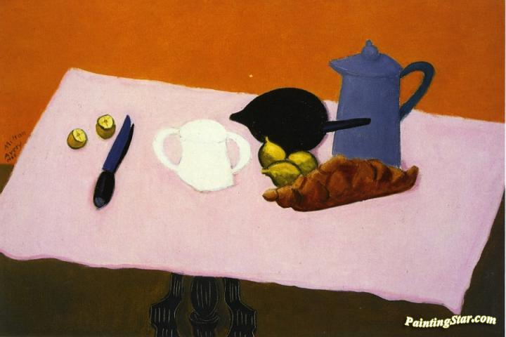 Pink Tablecloth Artwork by Milton Avery