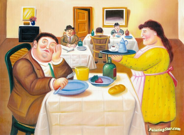 The Dining Room Artwork by Fernando Botero