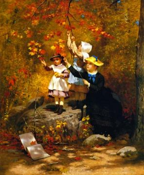 Gathering Autumn Leaves Artwork by John George Brown