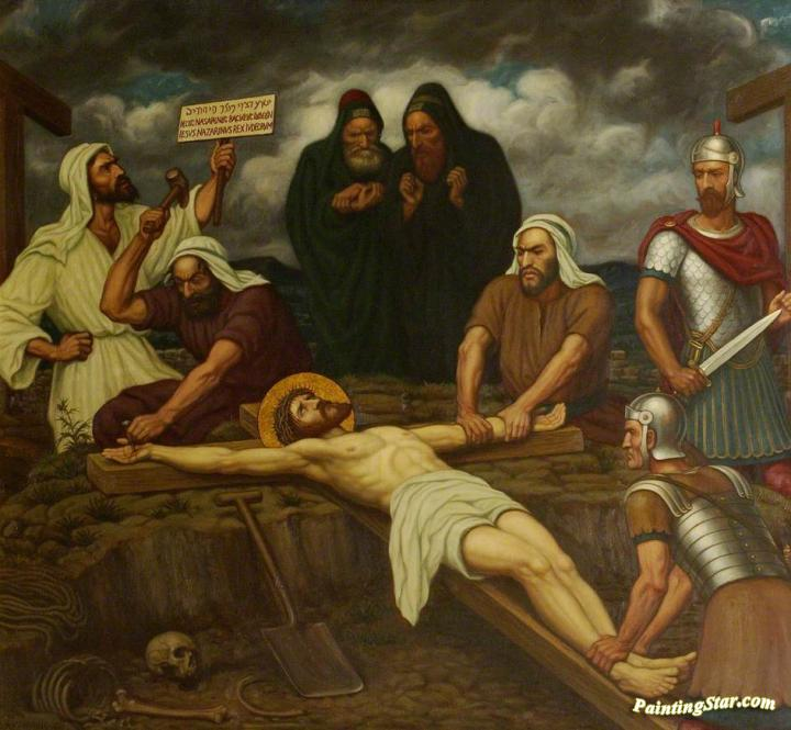 Jesus Is Nailed To The Cross Artwork by Edward Arthur Fellowes ...