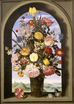 Vase with flowers in a window Artwork by Ambrosius Bosschaert