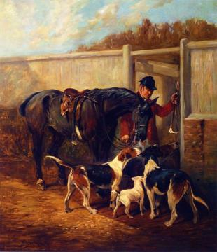 A Huntsman with His Horse and Hounds Artwork by John Emms