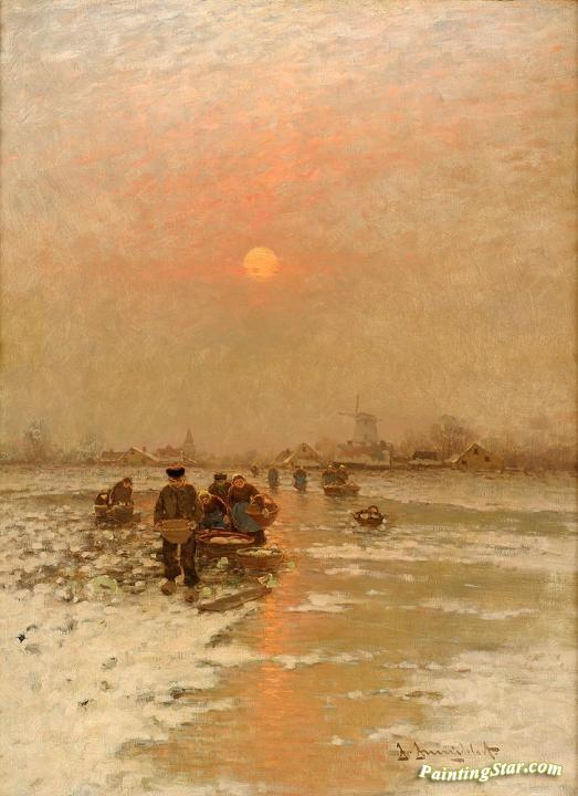 Winter Scene With Fishermen