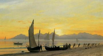 Boats Ashore at Sunset Artwork by Albert Bierstadt