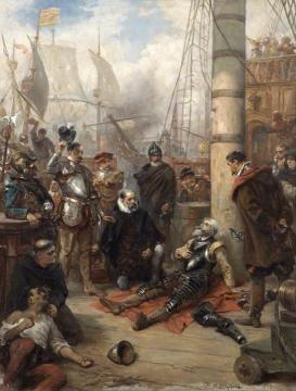 The Death of Captain Grenville, Captain of the 'Revenge' Artwork by Robert Alexander Hillingford