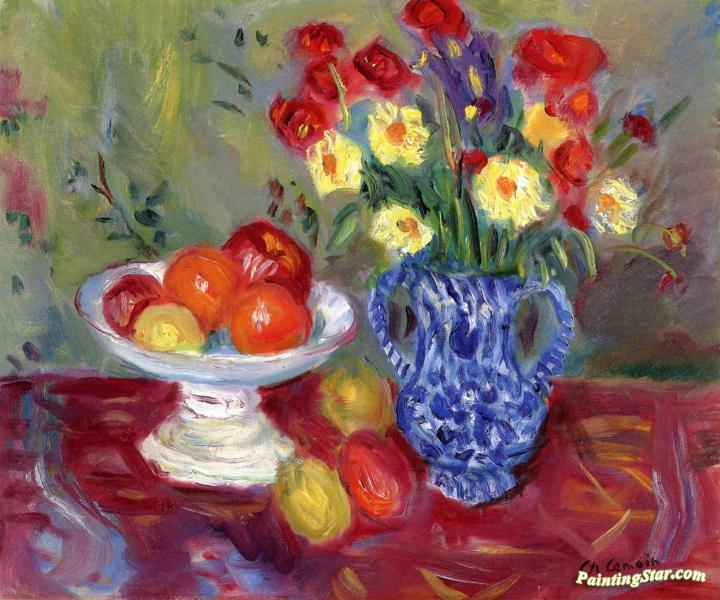 Still Life Vase Fruit And Flowers Artwork By Charles Camoin Oil