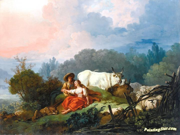 pastoral landscape with a shepherd and shepherdess at rest. Black Bedroom Furniture Sets. Home Design Ideas