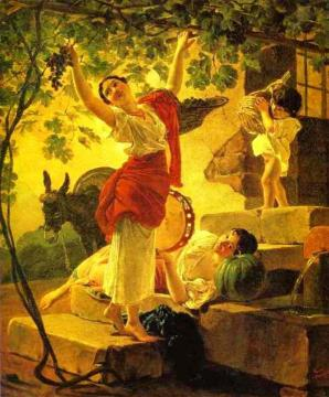 Girl Gathering Grapes in a Suburb of Naples Artwork by Karl Pavlovich Bryullov