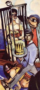 Temptation (Triptych - Right Panel) Artwork by Max Beckmann