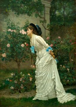 Girl And Roses Artwork by Auguste Toulmouche