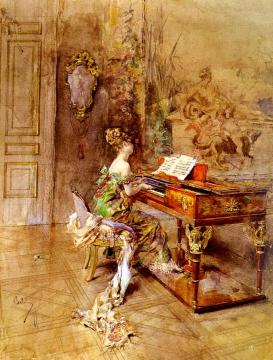 The Lady Pianist Artwork by Giovanni Boldini