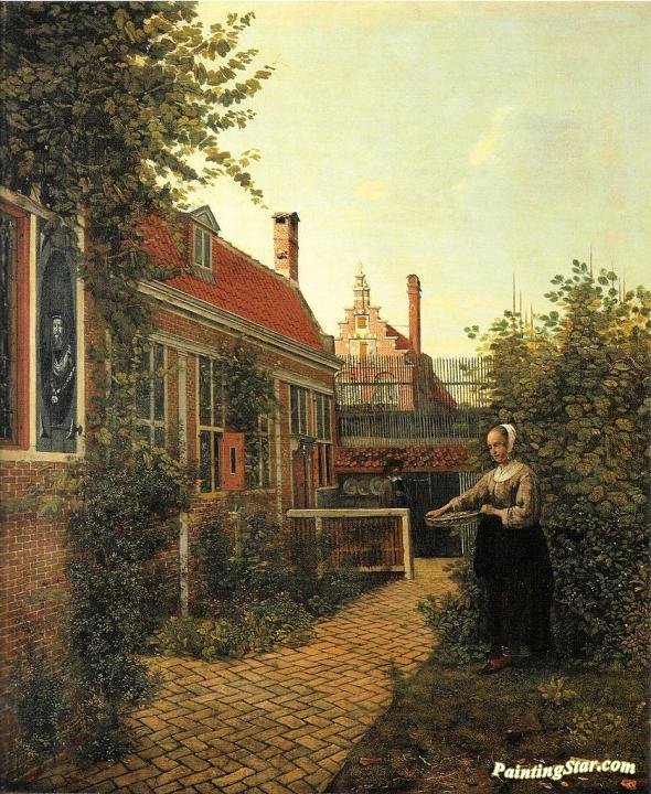 Stupendous Woman With A Basket Of Beans In Vegetable Garden Art Painting By Pieter De Hooch Interior Design Ideas Gentotryabchikinfo