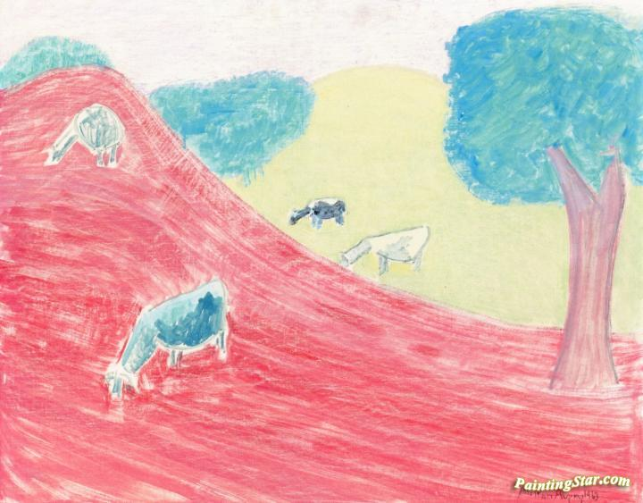 Cows In Autumn Artwork by Milton Avery