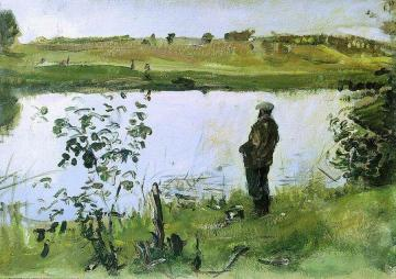 Painter Konstantin Korovin on the Riverbank Artwork by Valentin Serov