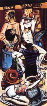 Departure (triptych - Left Panel) Artwork by Max Beckmann