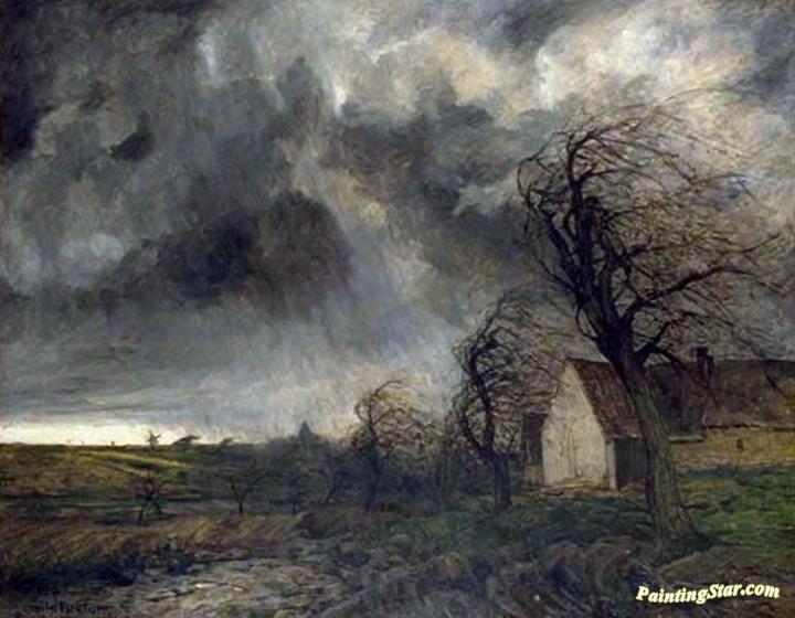 The Hailstorm Artwork By Emile Breton Oil Painting Amp Art