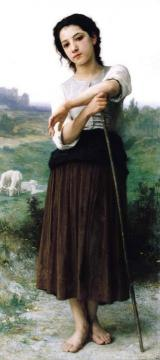 Young Shepherdess Standing Artwork by William Adolphe Bouguereau