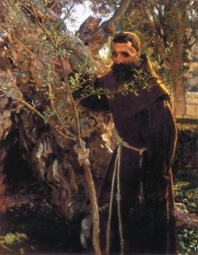 Franciscan Monk in the Garden of Gethsemane Artwork by John Singer Sargent