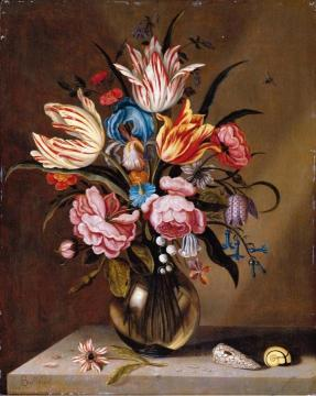 Still Life of Pink Roses, Striped Tulips, a Blue Iris, etc. in a Glass Vase Artwork by Ambrosius Bosschaert