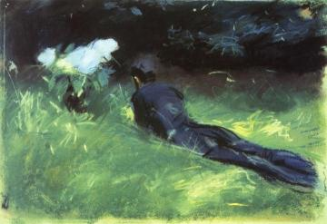 Paul Helleu Lying in a Field Artwork by John Singer Sargent