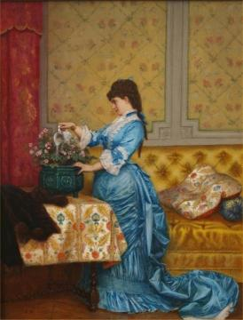 Young Lady in Blue Dress Artwork by Auguste Toulmouche