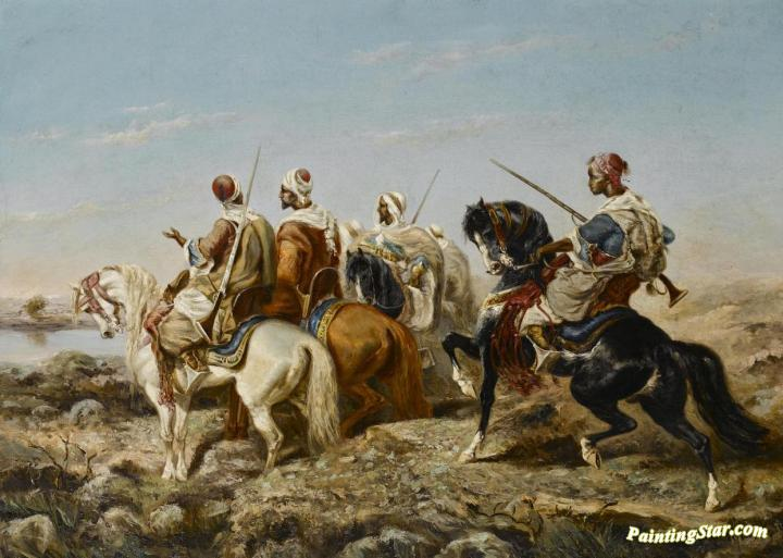Arab Horsemen Approaching A River Artwork By Alfred Durieux Oil Painting &  Art Prints On Canvas For Sale - PaintingStar.com Art Online Store