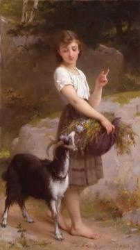 Young Girl With Goat And Flowers Artwork by Emile Munier