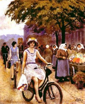 Bicycling Girl Artwork by Paul Gustave Fischer