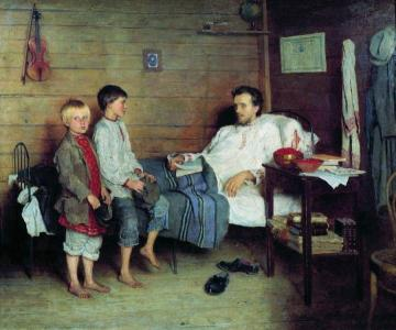 Visiting the Sick Teacher Artwork by Nikolai Petrovich Bogdanov-belsky