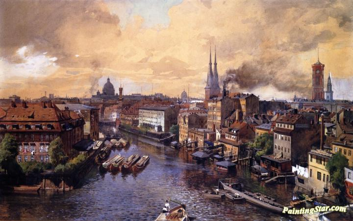 overlooking the spree in old berlin artwork by julius jacob oil painting art prints on canvas. Black Bedroom Furniture Sets. Home Design Ideas