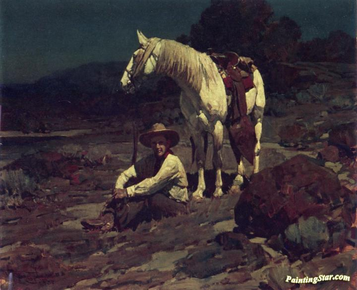 Night at the Trading Post  by Frank Tenney Johnson   Giclee Canvas Print Repro